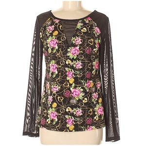 Betsey Johnson Top Graphic Floral Mesh Sleeves